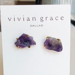 "Jewelry - 3/4"" Natural Amethyst & 18k Gold Claw Studs"